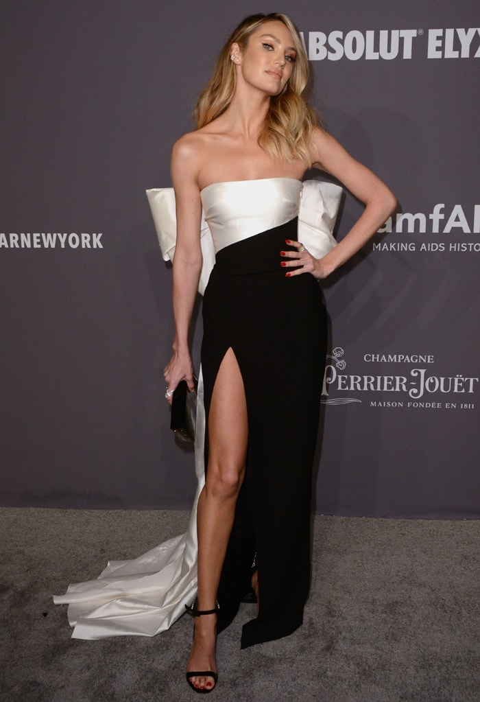 Candice Swanepoel's bow-detail silk-blend Rasario dress