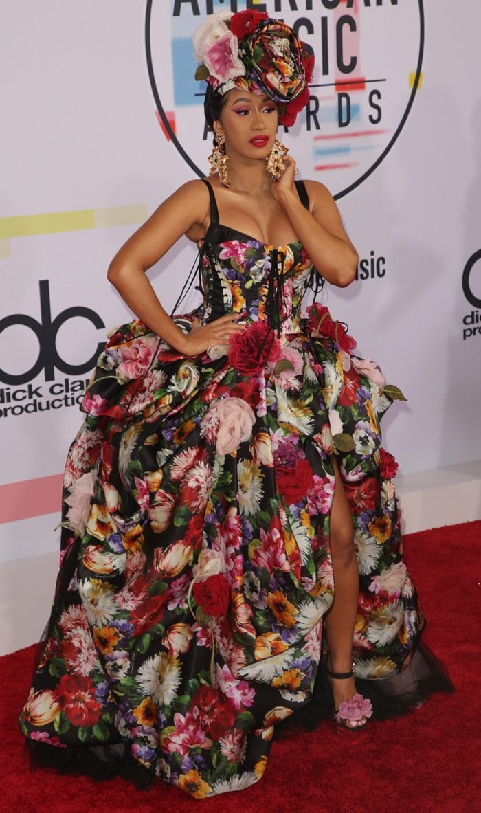 Cardi B rocked a floral-printed Dolce & Gabbana Spring 2019 gown