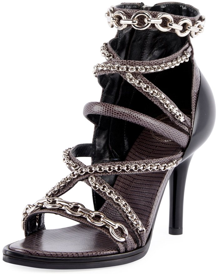 Chloe Victoria lizard-embossed leather sandals with mixed chain trim