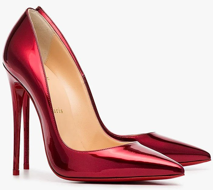 Christian Louboutin 'So Kate' Metallic-Red Pumps