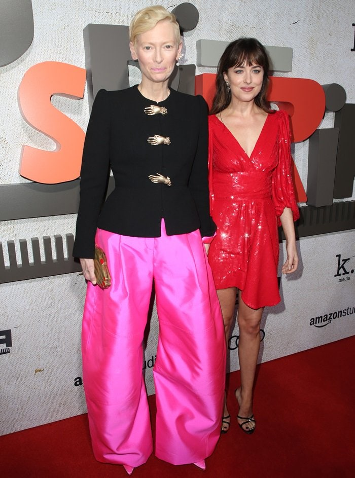 Tilda Swinton and Dakota Johnson on the red carpet at the premiere of Suspiria at the ArLight Cinerama Dome in Hollywood on October 24, 2018