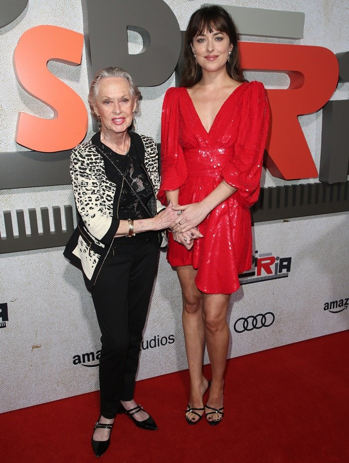 Dakota Johnson posing with her 88-year-old grandmother, the iconic American actress Tippi Hedren