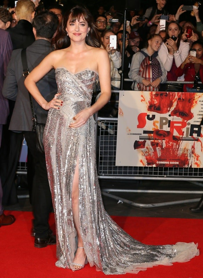 Dakota Johnson in a silver sequin princess dress by Gucci