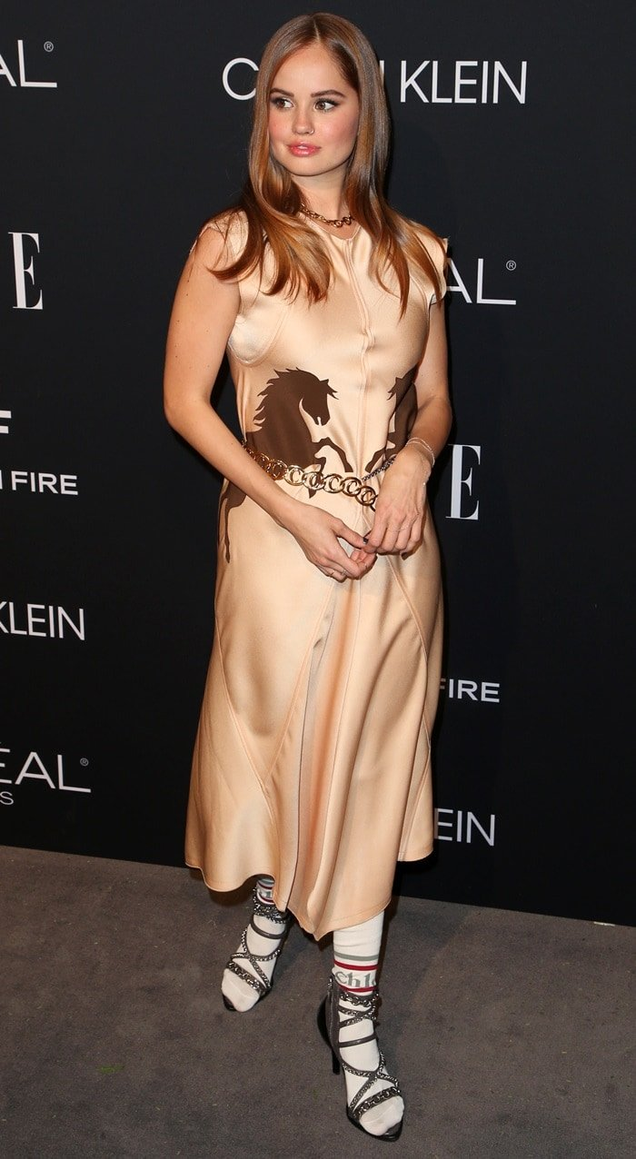 Debby Ryan in a horse printed silk dress at the 2018 Elle Women in Hollywood celebration