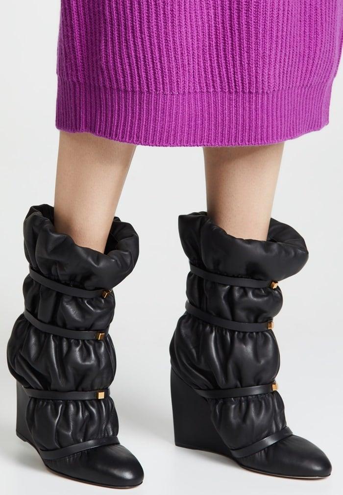 Garbage Bag-Inspired Black Duvet Studded Leather Wedge Boots