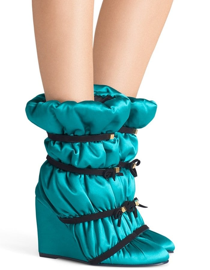 Oceanic Blue Duvet Studded Leather Wedge Boots