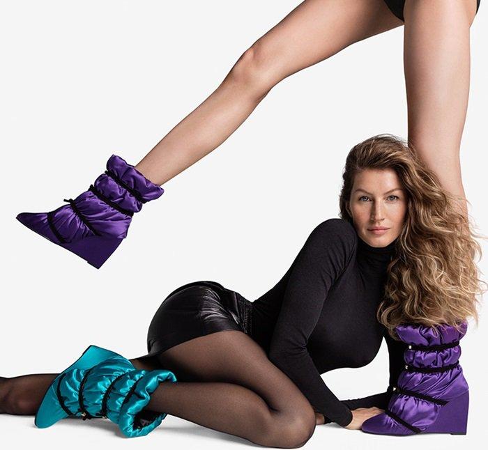Gisele Bundchen wearing Stuart Weitzman's garbage bag-inspired Duvet boots