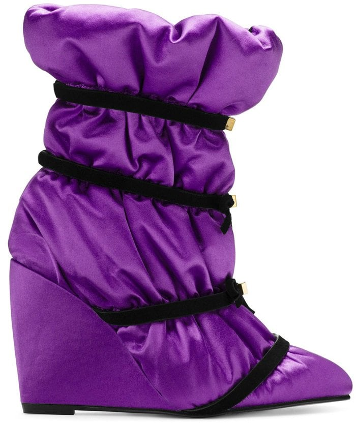 Purple Duvet Studded Leather Wedge Boots