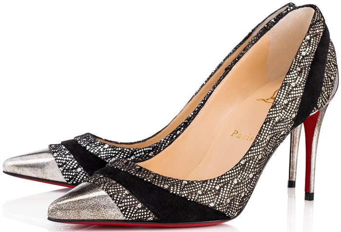 These pumps featuring an elegant curve have been crafted in a mix of glitter palace, crosta star with shiny reflects and black velour leather that sets the tone of a galactic style