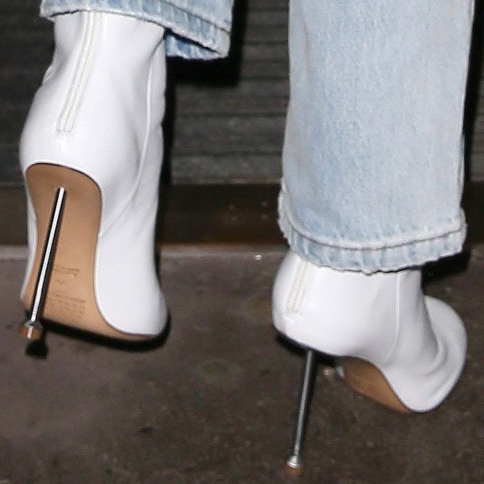 The scary-thin metal nail heels on Ellie Goulding's white Maison Margiela boots