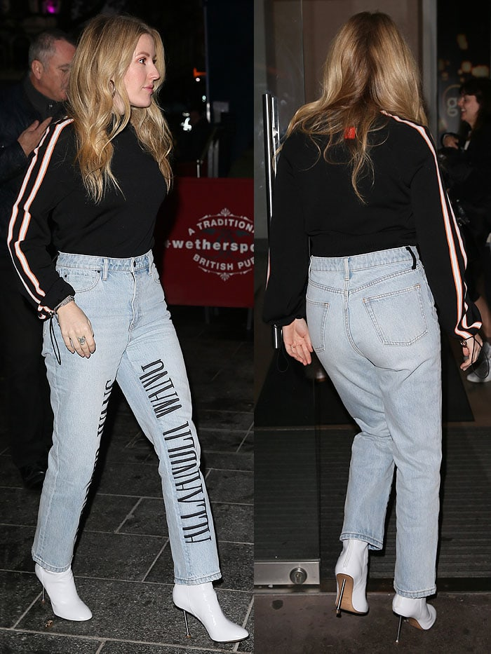 Ellie Goulding in London in white Maison Margiela boots with thin nail heels