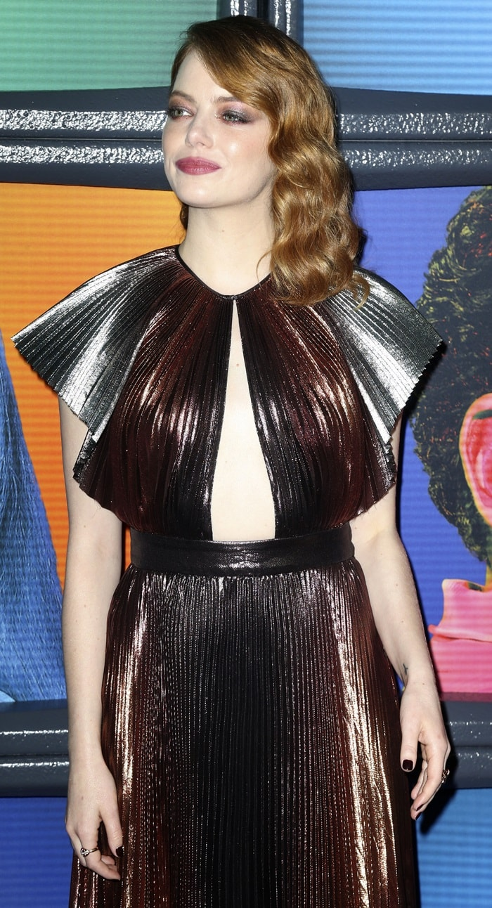 Emma Stone in a rainbow metallic pleated gown from the Givenchy Resort 2019 Collection