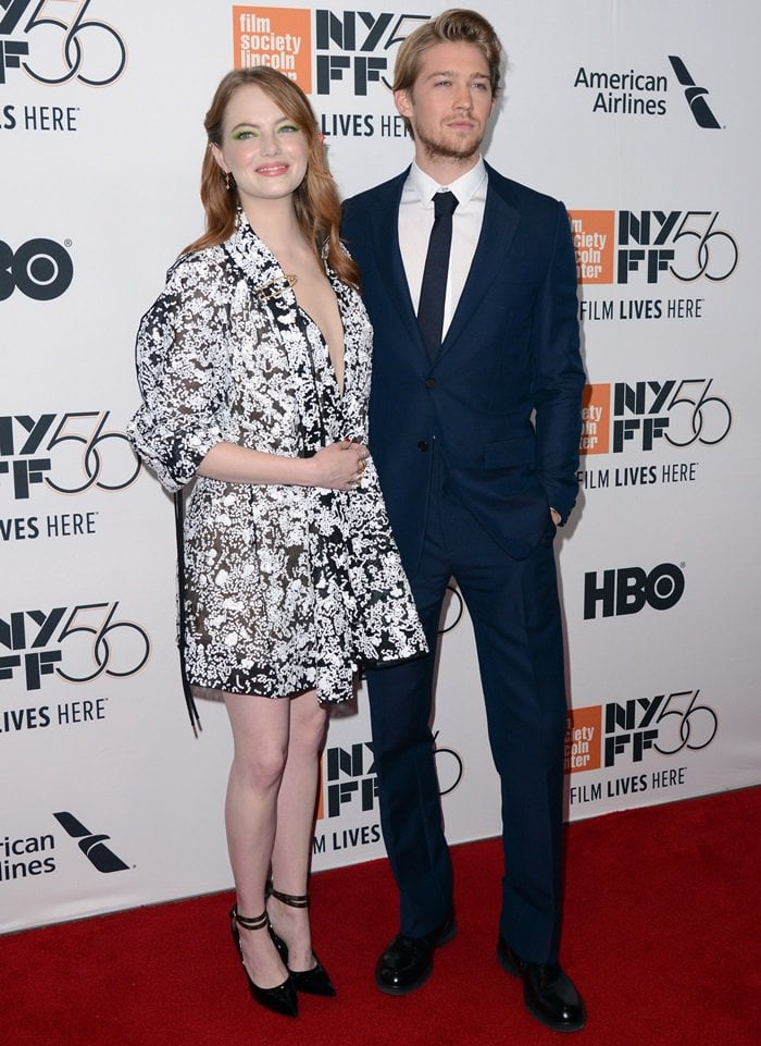 Emma Stone and Joe Alwyn attend the premiere of The Favourite as part of the New York Film Festival at Alice Tully Hall, Lincoln Center in New York City, on September 28, 2018