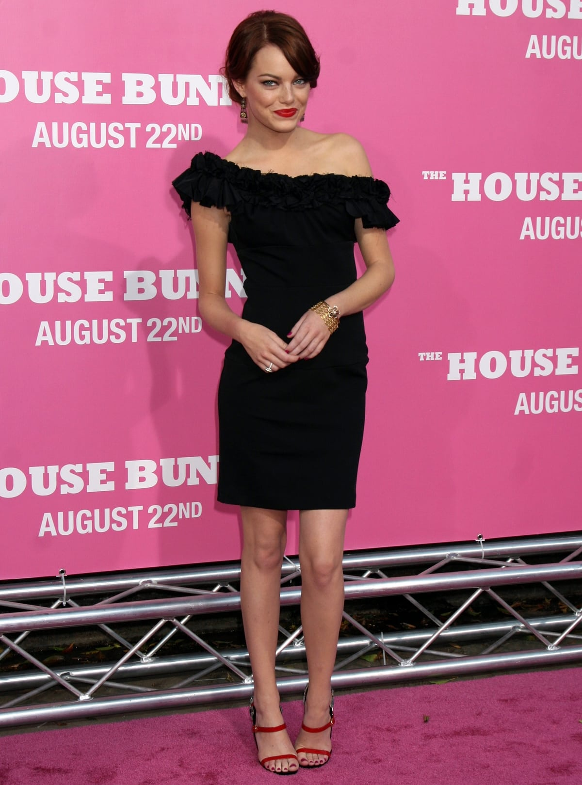 """Actress Emma Stone in a black dress at Sony Pictures' Premiere of """"House Bunny"""""""