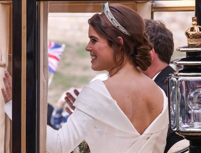 The low back feature of her gown was specifically requested by Princess Eugenie