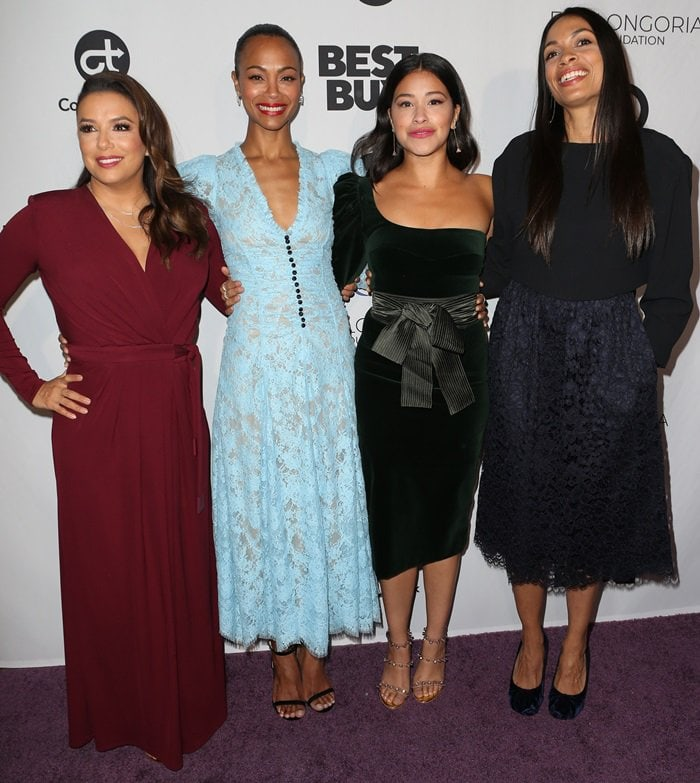 Gina Rodriguez, Eva Longoria, Zoe Saldana, andRosario Dawsonattending the Eva Longoria Foundation Dinner Gala held at the Four Seasons Hotel Los Angeles at Beverly Hills on November 8, 2018