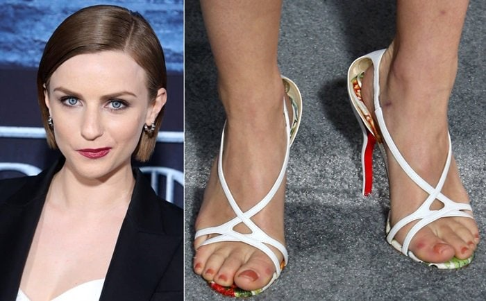 Faye Marsay's jacked up feet in Christian Louboutin sandals