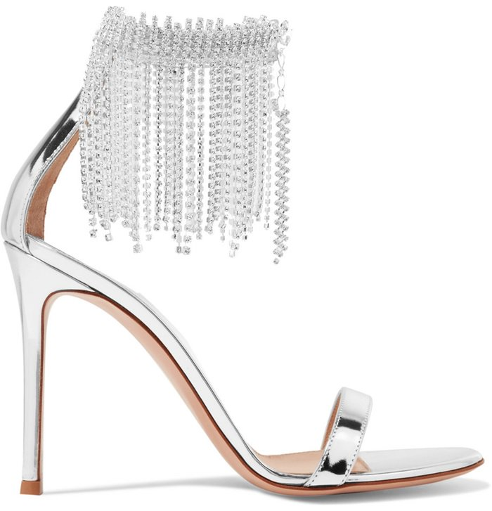 Silver Crystal-Embellished Metallic Leather Sandals