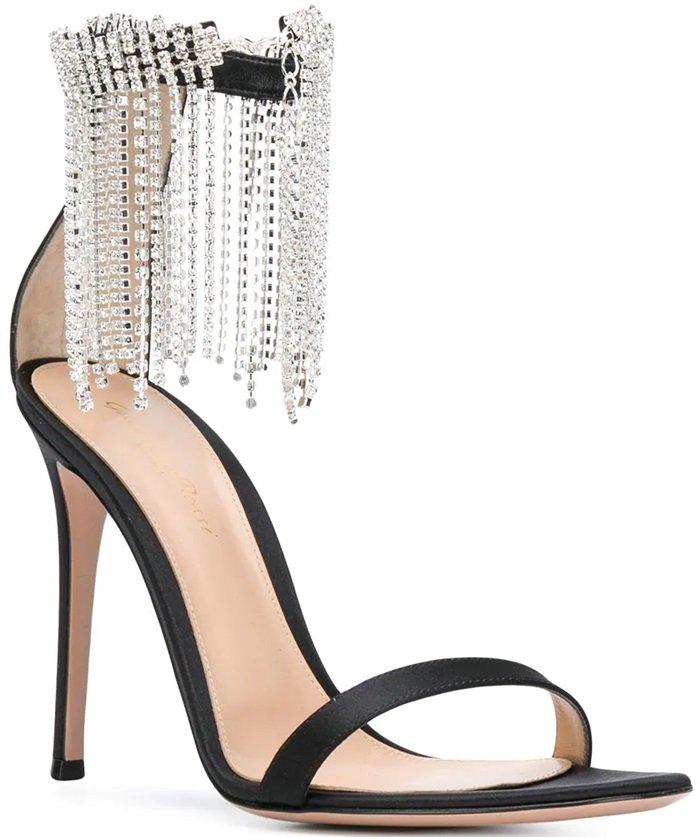 Black Crystal-Embellished Metallic Leather Sandals