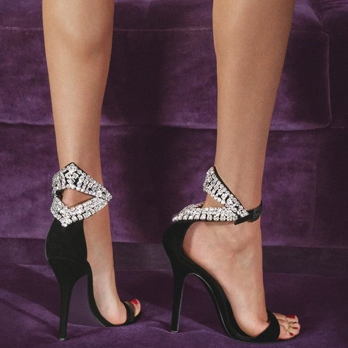 Black Velvet Sandals With Crystals