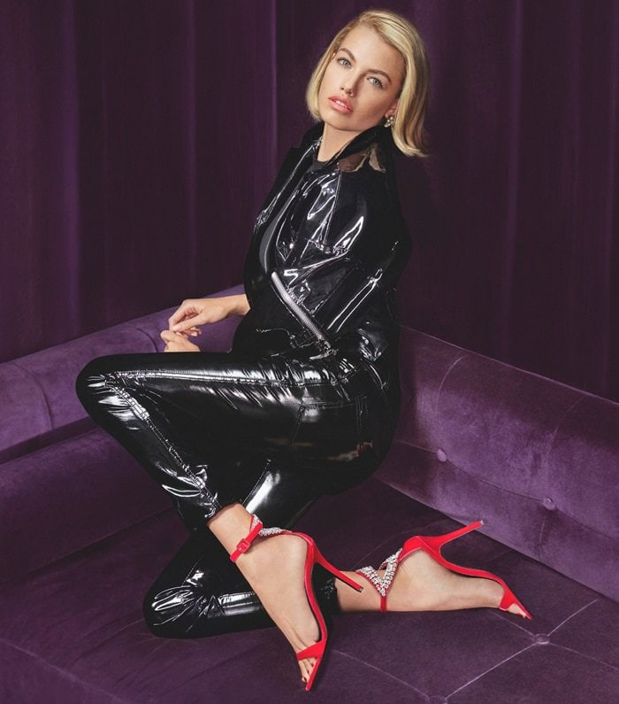 Hailey Clauson, an American model, wore the red version in Giuseppe Zanotti's Fall/Winter 2018 campaign styled by Carine and photographed by Sebastian Faena