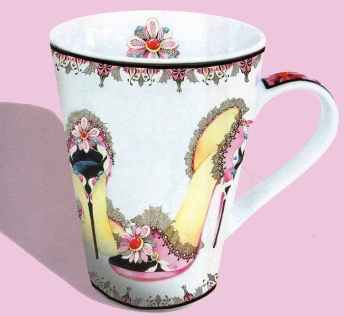 Pink Stiletto Shoe Mug by Kate Fellows