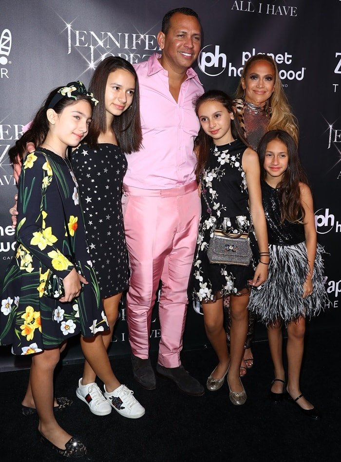 Alex Rodriguez and Jennifer Lopez were joined by Jennifer's  daughter Emme, 10, niece Lucie Wren Lopez-Goldfried, 10, and Alex's daughters Natasha, 13 and Ella, 10