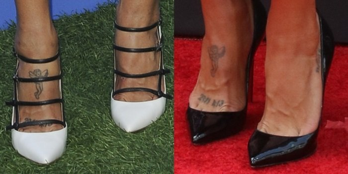 Jessica Szohr's numeral and angel foot tattoos