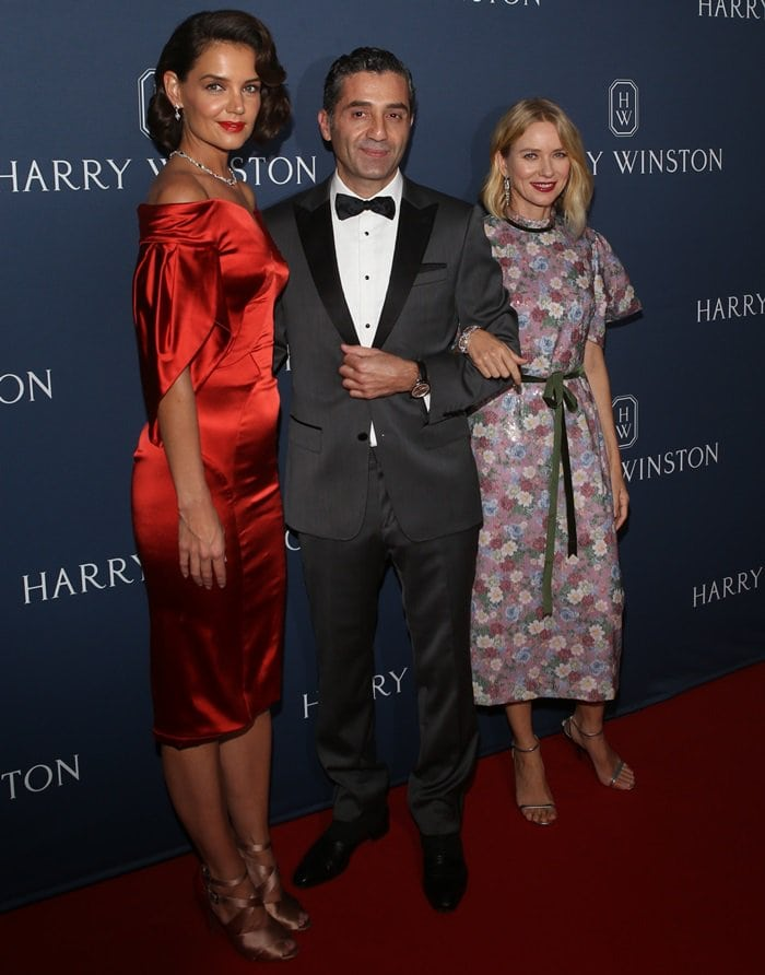 "Naomi Watts, Fadi Ghalayini and Katie Holmes attend the ""New York Collection"" by Harry Winston at The Rainbow Room on September 20, 2018, in New York City"