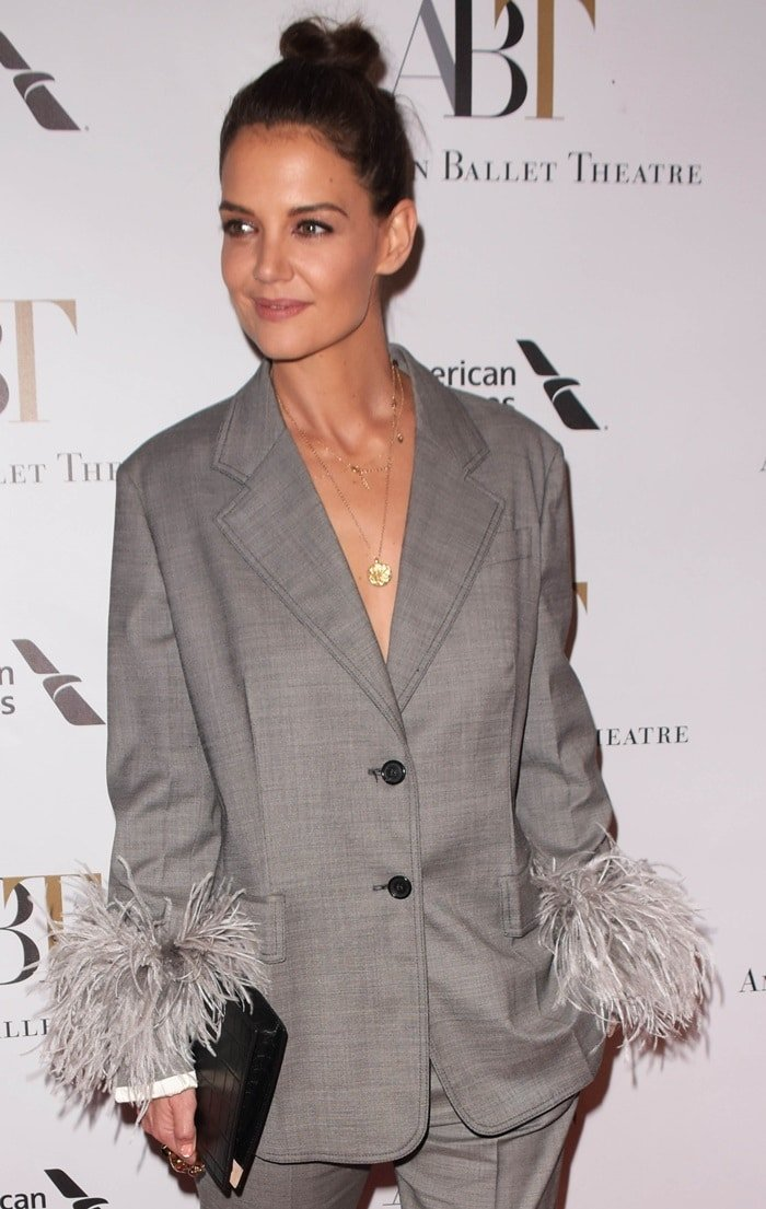 Katie Holmes wearing a two-button blazer from Prada