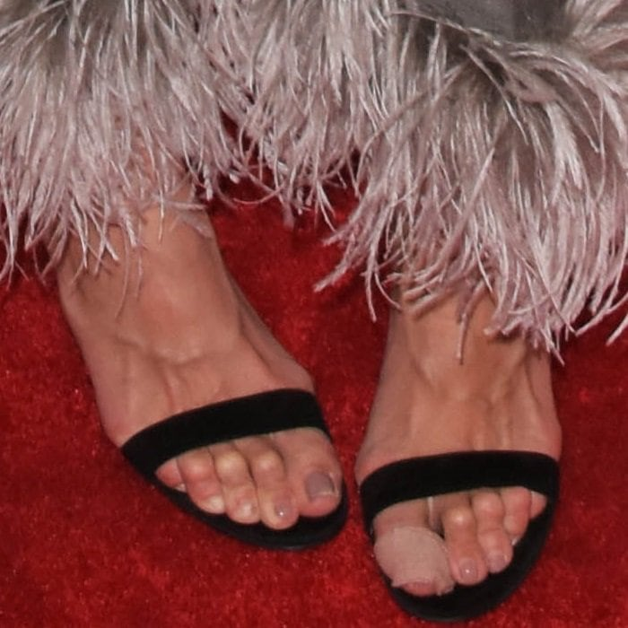 Katie Holmes shows off her creepy toes in black sandals