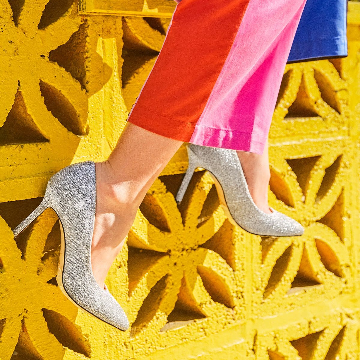 Fresh for fall, this statement pump in sparkle sweater is ready for whatever life has in store