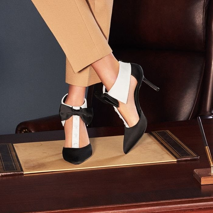 Really tie your look together in these adorable tux-inspired, t-strap pumps that are always dress code appropriate