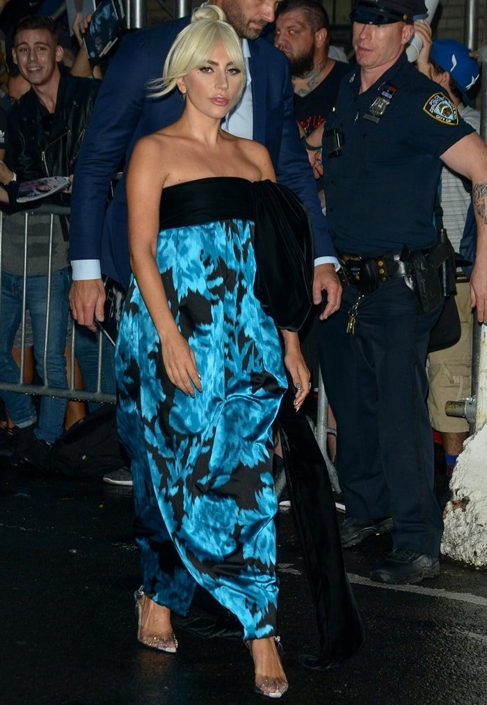 Lady Gaga wearing a Marc Jacobs silk evening gown with carnation-print