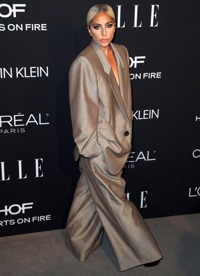 Lady Gaga rockscustom black leather platform lace-up booties from Giuseppe Zanotti