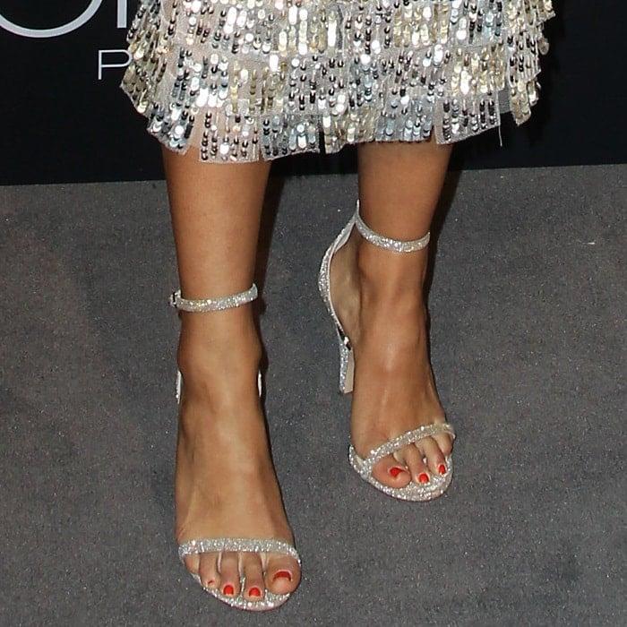 Liza Koshy put her sexy feet on display inpearl-embellished Nicholas Kirkwood 'Penelope' sandals