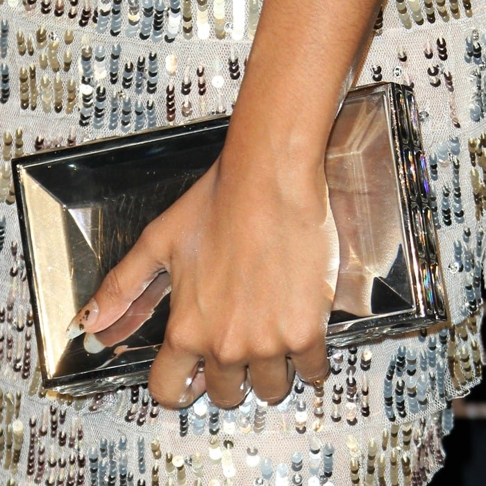"""Liza Koshy totesa Judith Leiber Couture """"Duchess"""" clutch in faceted resin"""
