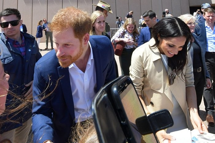 Prince Harry, Duke of Sussex and Meghan, Duchess of Sussex at the Sydney Opera House in Sydney, Australia, on October 16, 2018, as part of their official 16-day Autumn tour visiting cities in Australia, Fiji, Tonga, and New Zealand