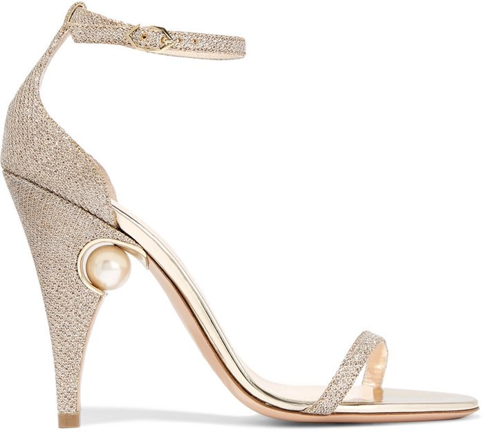 This pair has two slim straps and the heel is embellished with a glossy faux pearl – a brand signature