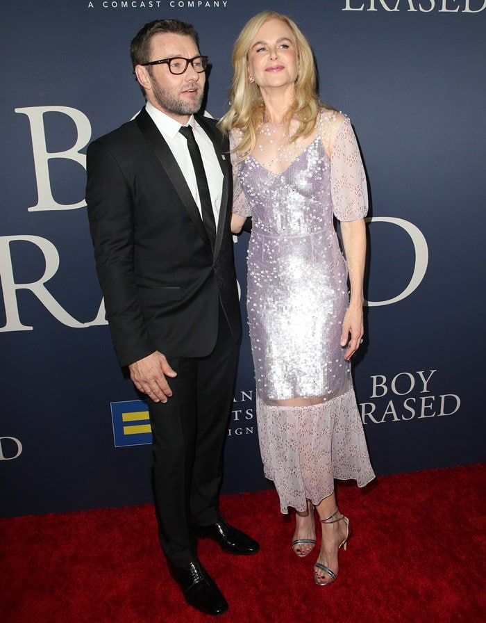 Nicole Kidman posing with director Joel Edgerton at the premiere of Boy Erased at Directors Guild Of America in Los Angeles on October 29, 2018