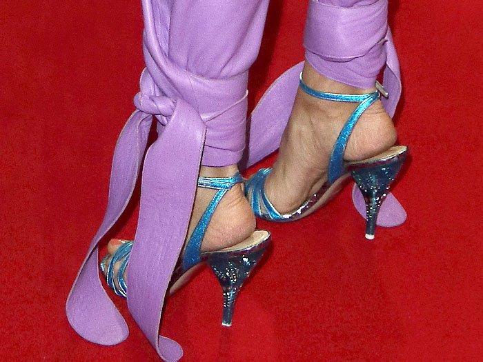 Details of Olga Kurylenko's Attico 'Lola' sandals featuring crystal-embellished, clear, blue heels