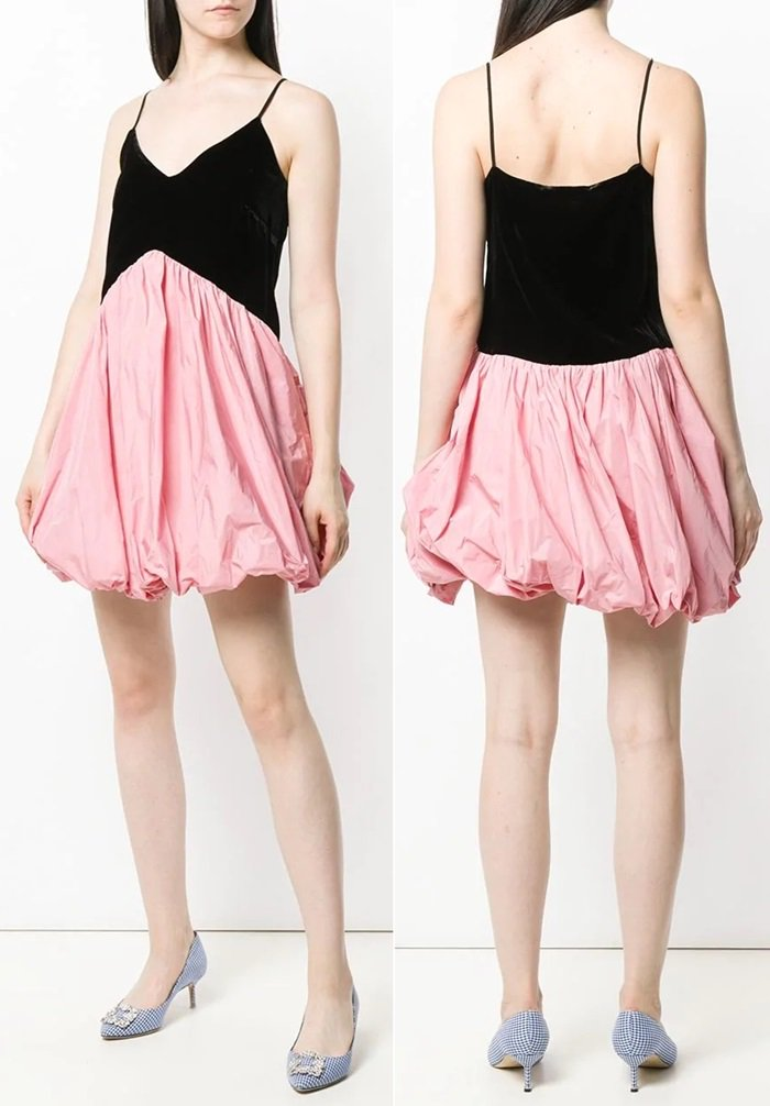 Pink and black twisted hem dress featuring a deep V neck, spaghetti straps, a side zip fastening, and a flared style