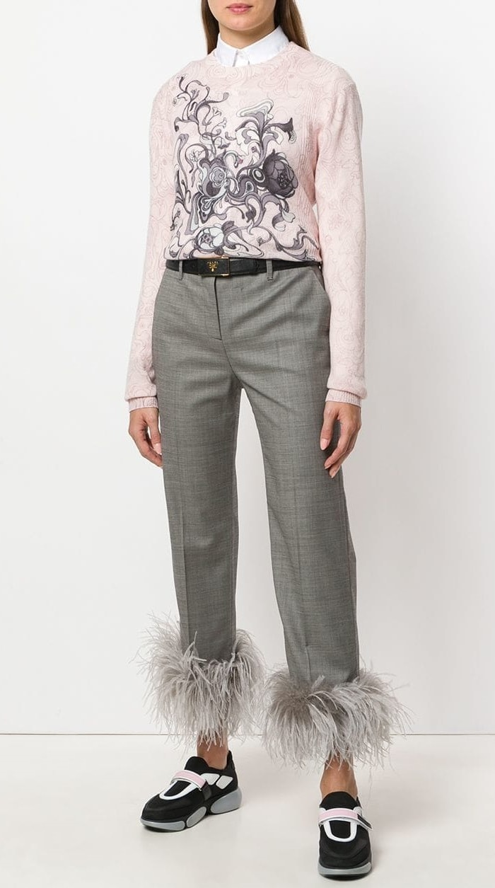 Prada Embellished Cropped Trousers