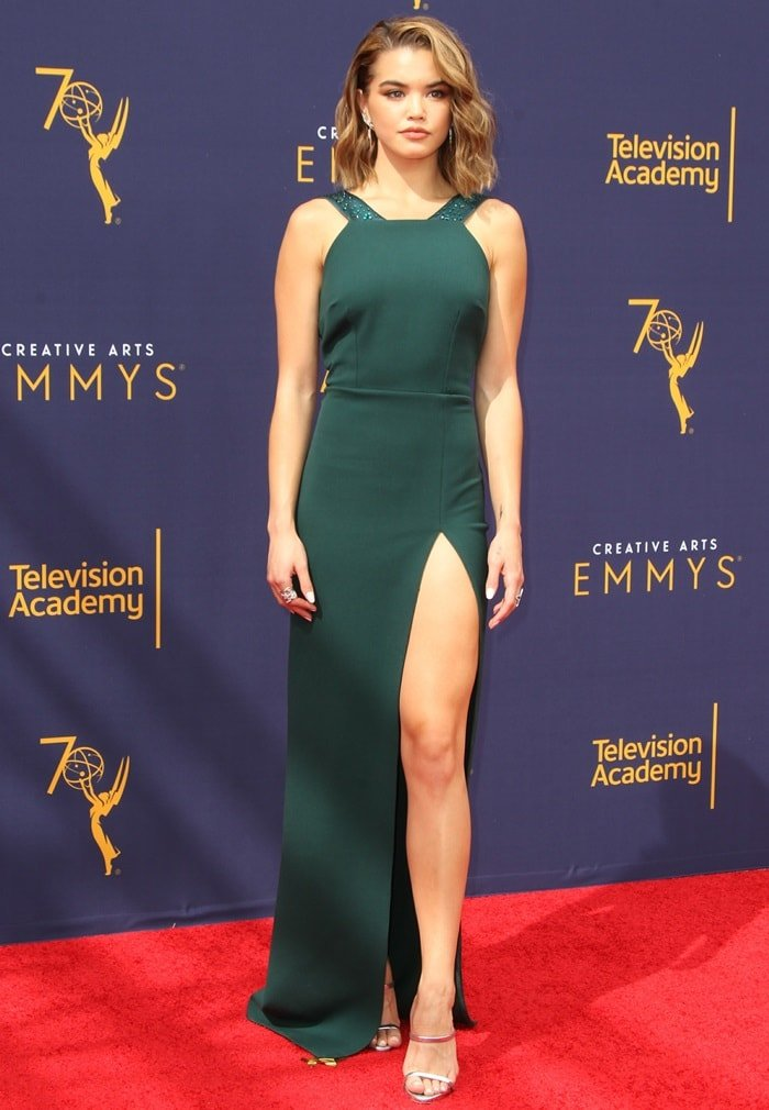 Paris Berelc in a hunter-green embellished gown from the Rhea Costa Pre-Fall 2018 Collection