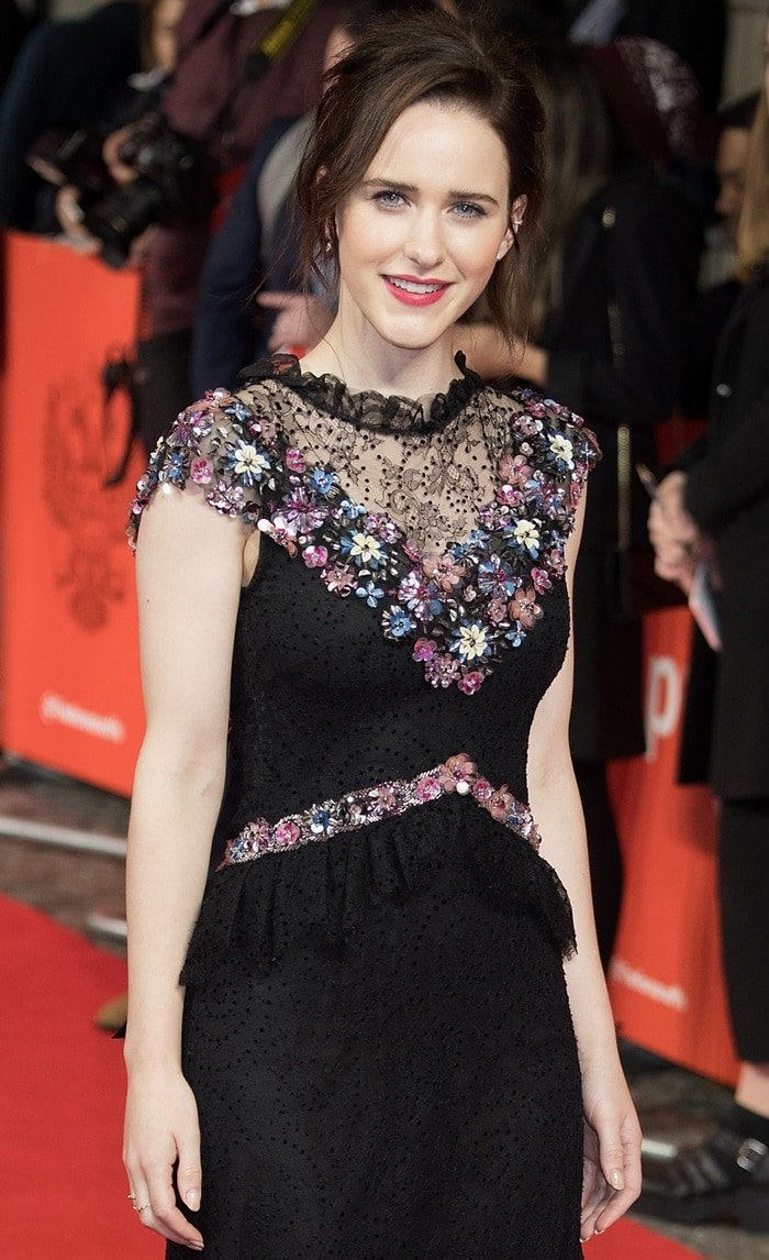 Rachel Brosnahan's romantic Rodarte dress features a gorgeous neckline
