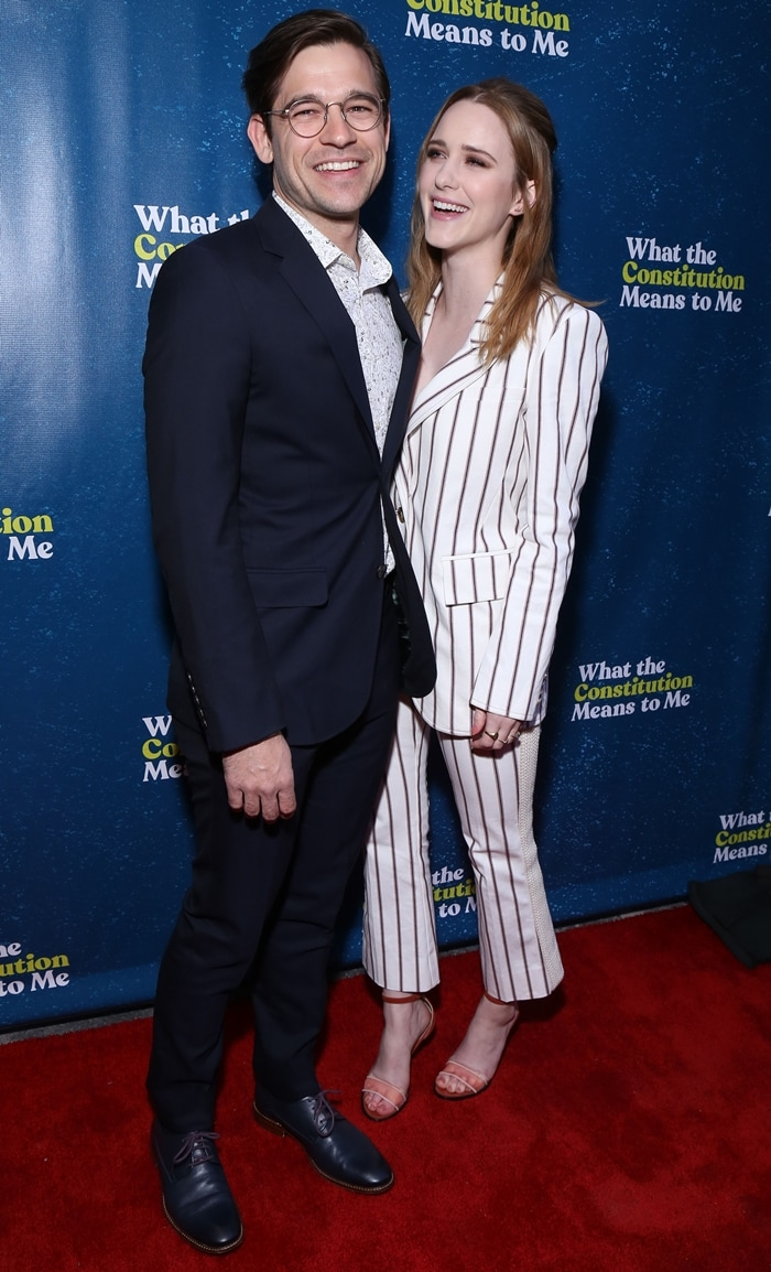 Rachel Brosnahan and her husband Jason Ralph at the opening night of What the Constitution Means to Me
