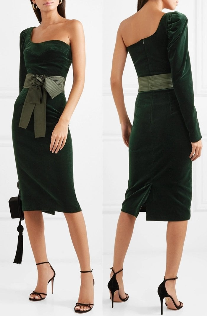 Inspired by traditional Columbian silhouettes, this midi dress is crafted from plush green velvet and cut with an asymmetric one-shoulder neckline and a slightly puffed sleeve