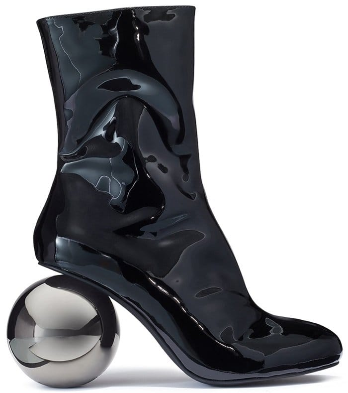 Black Diego Metallic Patent-Leather Ankle Boots
