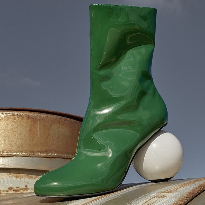 Green Diego Metallic Patent-Leather Ankle Boots