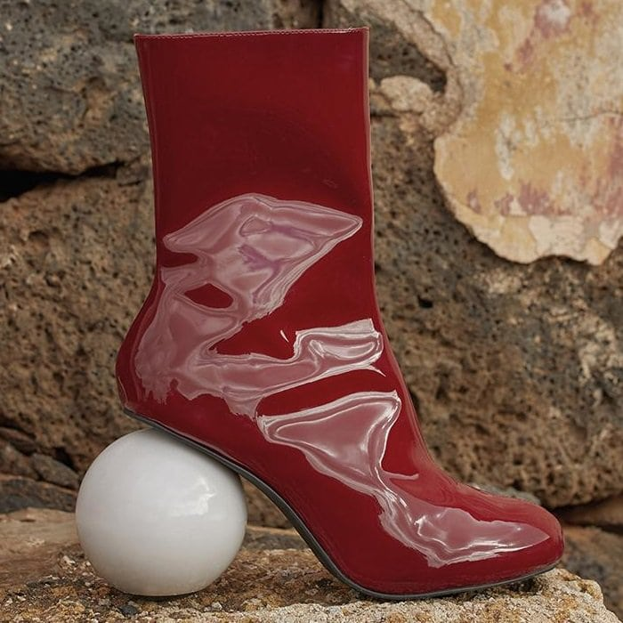 Red Diego Metallic Patent-Leather Ankle Boots